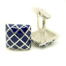Cufflinks Blue Silver Colour Check Pattern Square Wedding Cuff Links T Bar