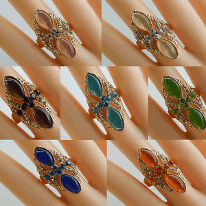LADIES WOMEN GIRLS ELEGANT CRYSTAL RING ( Small size ) DIFFERENT COLOUR  *UK