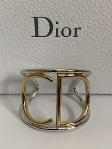 NIB Christian Dior CD Letter Logo Gold Silver Two Tone Statement Cuff Bracelet