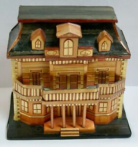Chinese Straw Work American Colonial Style House Trinket Box, Removable Roof Lid