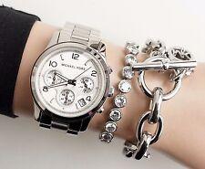 Original Michael Kors Uhr Damenuhr MK5076 RUNWAY   Farbe:Silber  NEU