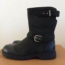 UGG Womens Grandle Short Leather Winter Boots Black Size 5 ( Youth 3  Motorcycle