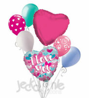 7 pc Turquoise & Pink I Love You Heart Valentines Day Balloon Bouquet Be Mine