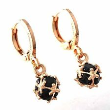 Lucky Womens Rose Gold Filled Black Ball Cubic Zirconia Girls Dangle Earrings