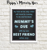 Pregnancy Announcement New Baby Brother Sister Photo Shoot Poster Print Prop