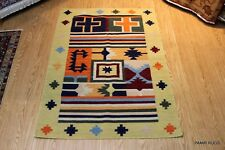 Natural Wool 4' x 6' FT. Southwestern Floral Kazakh handmade tribal kilim kelim