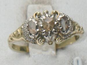 JUGENDSTIL 585er GOLD RING 3 x DIAMANT ROSEN SUPER DESIGN ausgefallen Weißgold