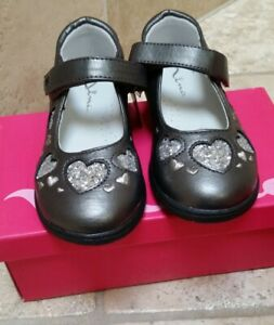 Nina Kids 9M Addy Sparkle Pewter/Silver Pebbled Hearts, Memory Foam /Stride Rite