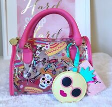Luv BETSEY JOHNSON Mini Satchel Sydney Sugar Skulls & Candy Clear Pink Crossbody