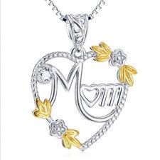 """Anhänger """" Mom """" Herz weiße Kristalle Blüten gold  Kette Sterling Silber 925"""