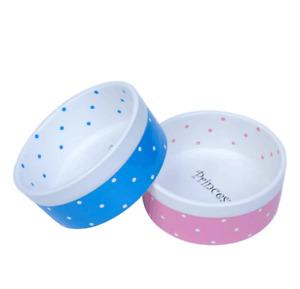 Prince Princess Ceramic Pet Bowl for Dog or Cat - Food or Water Bowl - 2 Colours