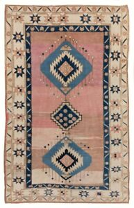 5x8.3 Ft Vintage Central Anatolian Village Rug, 100% Wool