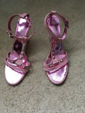 Nando Muzi Authentic Pink Leather T-Strap Cut Out Wedge Sandals Size 37 Italy