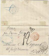 Uruguay Montevideo 1880 Unpaid T  Entire Letter Cover  Poste Maritime Francaise