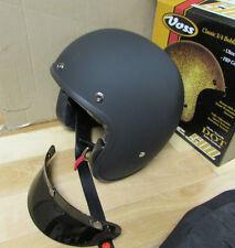VOSS FIBREGLASS BOBBER 3/4 STYLE MOTORCYCLE HELMET - ADULT SMALL - MATTE BLACK