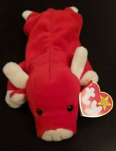 TY Beanie Baby Snort 1995 Tag Error UK 5th Gen Hang Tag 6th Gen Tush Tag PVC EUC