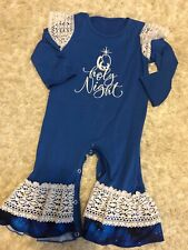 christmas Girls Romper One Piece Jump Suit Blue O Holy Night Size 2T Unbranded
