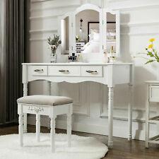 White Vanity Makeup Table Set Folding Mirror 3 Drawers W/ Stool Stylish Dressing