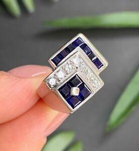 14K White Gold Men's Breathtaking Engagement & Wedding Ring 2.6 Ct Sapphire