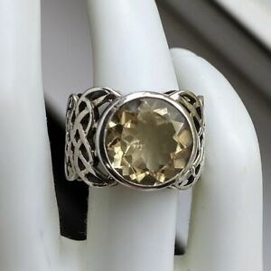 SILPADA R1425 Sterling Silver Faceted Citrine Celtic Ring, Size 6
