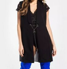 STYLE LONDON Womens Top Size S 8 To 10 Long Black Blazer Duster Sleeveless