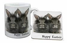 Fluffy Rabbits 'Happy Easter' Mug+Coaster Christmas/Birthday Gift Idea, AR-3EAMC