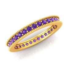 Natural 0.80ct Round Amethyst Eternity Band 10k Yellow Gold AAA