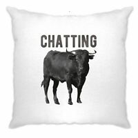 Bull Ox Cushion Cover Chatting Bullocks Joke Funny Novelty Cow Pun