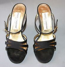 DOLCE & GABBANA WOMENS BLACK WEDGE SANDALS - EXCL COND- WORN ONCE-SIZE 37