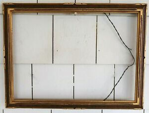 "Antique ARTS & CRAFTS Gold FRAME w/ Wood Accents 14"" x 10"" - MISSION"