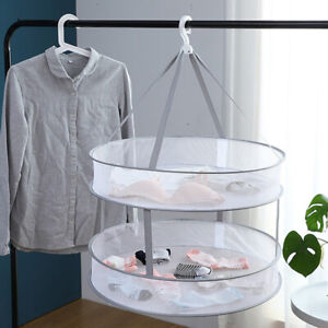 2 Layers Drying Rack Net Folding Hanging Clothes Laundry Sweater Dryer Basket M