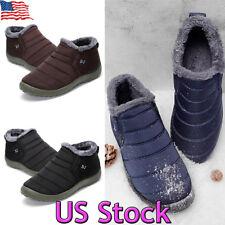 Mens Ankle Snow Boots Winter Warm Fur Lining Slip On Waterproof Sneaker Shoes