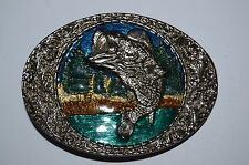 Vintage Bass Big Mouth Fish Fishing Fisherman Colorful Metal Belt Buckle Rare NM