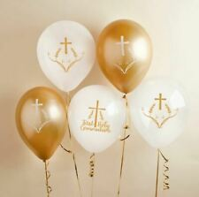 FIRST HOLY COMMUNION BALLOONS BALLOONS 5 PACK GOLD & WHITE CHURCH CELEBRATION