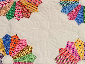 Heirloom Quilted- Dresden Plate Finished Quilt - Bold design, Queen size