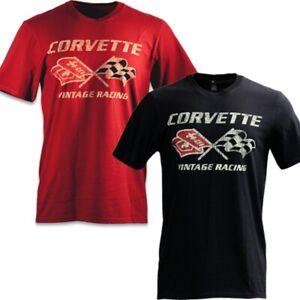 C3 Corvette Cross Flags Vintage Racing Red Cotton T-Shirt