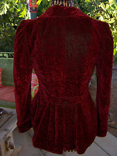 $210~Western Velvet Fish Tail Embossed Jacket Coat~M/S~Wah Maker By Scully~USA