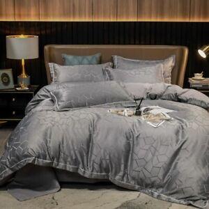 Luxury Jacquard Cotton Bedding Sets  Size Duvet Cover Flat Sheet Set 3/4pcs