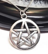 """PENTAGRAM_Pendant on 20"""" Chain Necklace_Wiccan Pagan Pentacle Witch Silver_224N"""