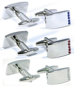 Mens's Stunning Rectangle silver cufflinks with dimante rhinestone wedding party