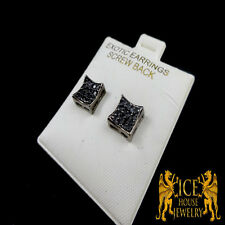 14K MEN'S & WOMEN'S  BLACK GOLD FINISH BLACK LAB SIMULATE DIAMOND STUD EARRINGS