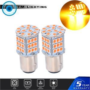 1157 LED Amber Yellow 3000K DRL Turn Signal Parking Side Marker Light Bulbs