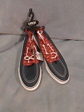 Rue 21 Carbon Brand Navy Blue W/Anchor Pattern Fabric Boat Shoes Size 10 M New!