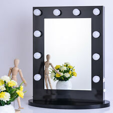 Black Vanity Lighted Hollywood Makeup Mirror with Dimmer Stage Beauty Mirror