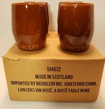 4 Vtg Lancers Vin Rose - Brown Stoneware Ceramic Wine Cups Mugs Made in Scotland