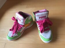 Puma High Top Vintage Style Pink Green Yellow White Shoes Sneakers Unique
