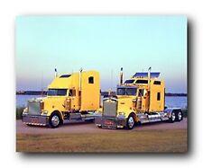 Yellow Kenworths Big Rig Diesel Truck Transportation Wall Decor Art Print (16x20