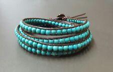 5 WrapTurquoise Brown Leather  Bracelet, Wrap Bracelet