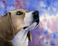 Beagle Watercolor Art Print Painting 8.5 x 11 by Artist Dj Rogers