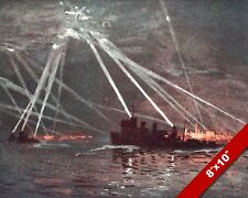 DESTROYERS NAVY ENGAGING ZEPPLIN WWI WORLD WAR 1 ART PAINTING REAL CANVAS PRINT
